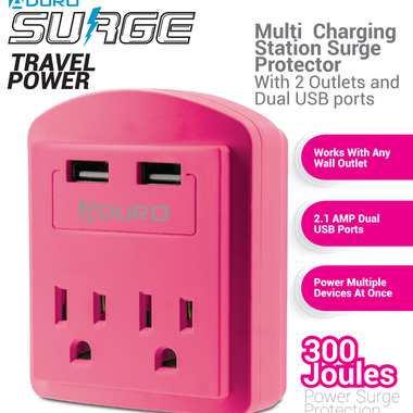 2X Outlets + 2X USB Ports - Surge Power Protector 2.1A Output for Tablets and Sm