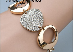 Hot Selling heart set Rhinestone Gold Round bracelets
