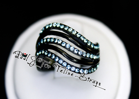 Szs 5 6 7 or 8 Black Aqua Wave AAA Grade CZ SS Ring