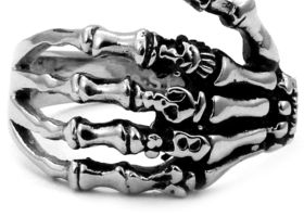 Gothic Skeleton Hand Stainless Steel Ring