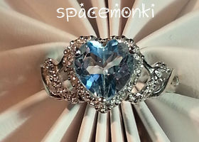 2.2 Carat Ice Heart ~ Genuine Topaz SOLID SS ~ 6