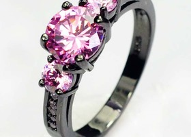 Awesome Three Pink Cubic zirconia Black Rhodium Ring