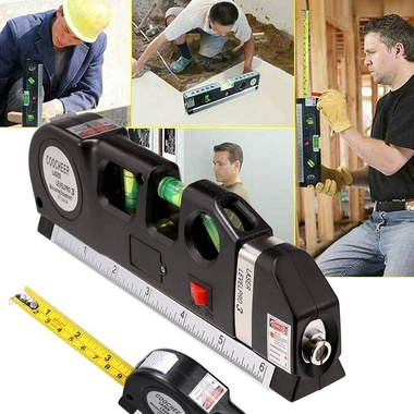 Newest Multipurpose Laser Level Horizontal Vertical Line 8FT+Measure Tape Ruler
