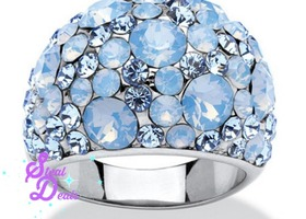 Blue Crystal Cluster Stainless Steel Ring