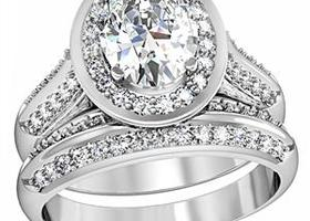 Sz5-10 Fabulous Halo  2Ct  Cz Ring Set