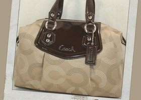 NWT Coach Ashley Dotted Op Satchel~Khaki/Mahogany