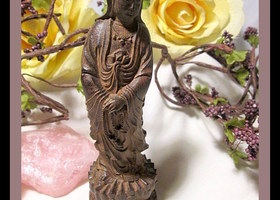 Kwan Yin Goddess Handcarved Wood Statue