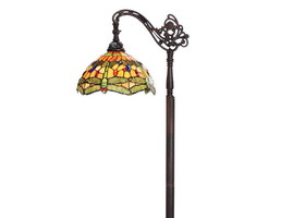 "Tiffany-Style 69"" Dragonfly Stained Glass Floor Lamp"