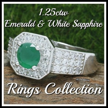 1.25ctw 14k White Gold Filled, Beautifully Created Fine Emerald & White Sapphire
