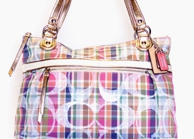 COACH MINT Limited Edition Madras Glam Shopper Tote