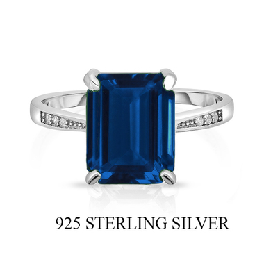 Amazing Unique .925 Sterling Silver Ring W/Lab Creative  Blue Sapphire stone