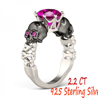 925 Sterling Silver 2.2 CT Ruby & AAAAA+ CZ Skull Wedding Band Ring Size 6-10