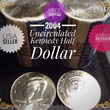2004 Brilliantly Uncirculated Kennedy Half Dollar.BababaBonus!! Error cent,DIE C
