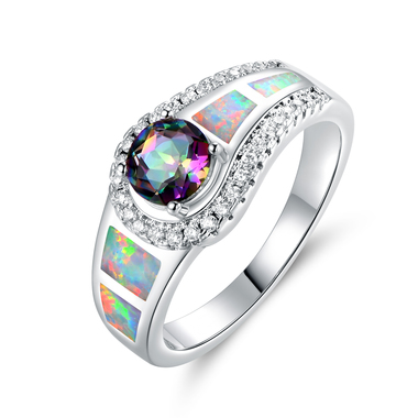 18K White Gold Plated Mystic Topaz & Lab Created Fire Opal Cocktail Ring