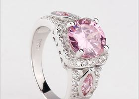 Pink and White CZ Ring Sizes 8 or 9