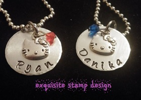Personalized Hello Kitty Hand Stamped Necklace