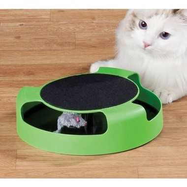 Cat Scratch Pad with Spinning Mouse Toy