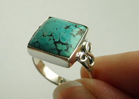 Blue Turquoise ring - .925 solid sterling silver