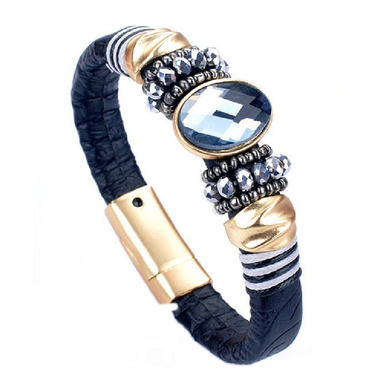 Magentic Genuine Leather Bracelet with Genuine Crystal Black