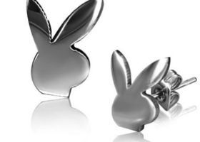 Stainless Steel Playboy Bunny Earrings