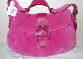 $368 Coach Suede & Leather Pink Soho Flap – New w/ Flaw