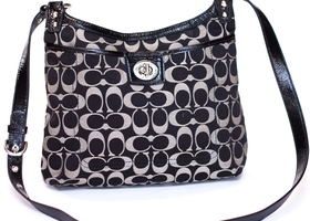 COACH Black Signature Sateen Penelope Crossbody #19259