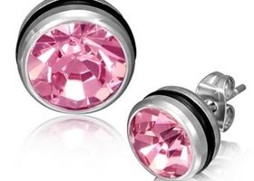 Stainless Steel Pink Crystal Earrings