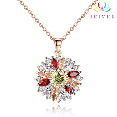 Real Rose Gold Plated Flower Necklaces Pendants with High Quality Cubic Zircon F