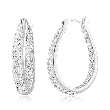 18Kt White Gold Plated Austrian Crystal Inside Outside Hoop Earings