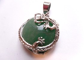 *Dragon Wrapped Green Aventurine Pendant