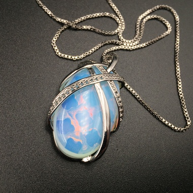 Estate Modernist 22CTW polished white oval opal pendant