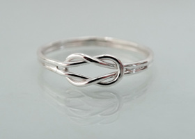 Solid Sterling silver- Nautical love knot - double band