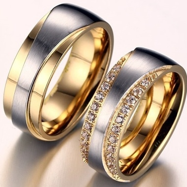 (1pc)Gold Plated Alliance Ring CZ crystal Wedding Band Ring For Women And Men Qu