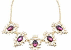 Gold Necklace with Purple Crystals
