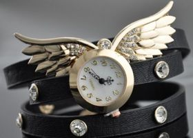 Black Leather W/ Golden Wings Wrap Bracelet Watch Black
