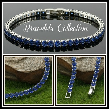6.45ctw 14k White Gold Filled, Beautifully Created Fine Sapphire Tennis Bracelet