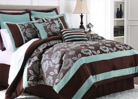QUEEN 8 Piece Jacquard Comforter Set- Adara