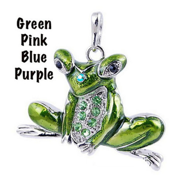Long Chain Frog Pendant Necklace
