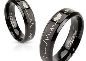 One Black Stainless Steel Heartbeat Ring