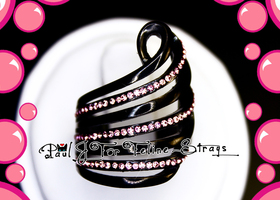 Szs 6-10 Pink Bubble Swirl Black IP Stainless Ring
