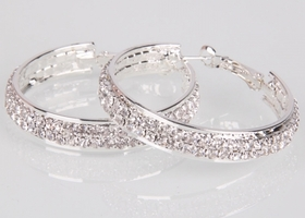 Silver Plated Double CZ Hoop Earrings