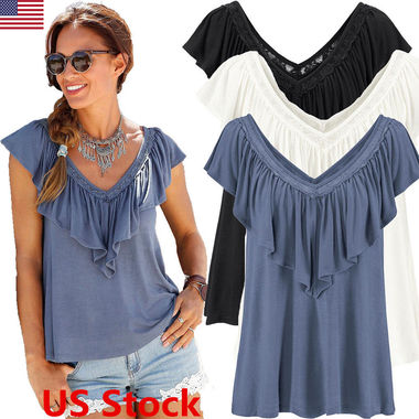 Womens Double V Neck Frill Top Ladies Short Sleeve Ruffle Blouse T Shirt Tops US