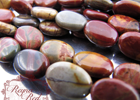 Red Creek Jasper Flat Oval Beads - FULL strand