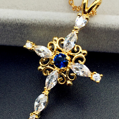 Never fade luxury 24K yellow gold filled AAA zircon cross pendant necklace