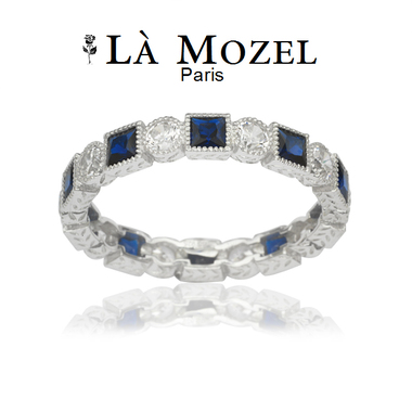 Luxurious 4 Carat Highly Graded Deep Blue Fancy Ring In HandCrafted 18K White Go