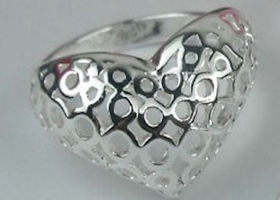 Filigree Heart Ring Silver Plated