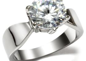 Solitaire CZ Stainless Ring, Sizes 5-10