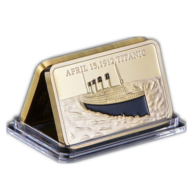 Gold Plated Bar In Memory Of Rms Tragedy Titanic Victims 1OZ Gold Souvenir Bar