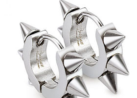 Spiked Stainless Steel Huggie Earrings
