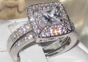 Sizes 5,6,7,8,9,10 Gorgeous Princess Halo Ring Set